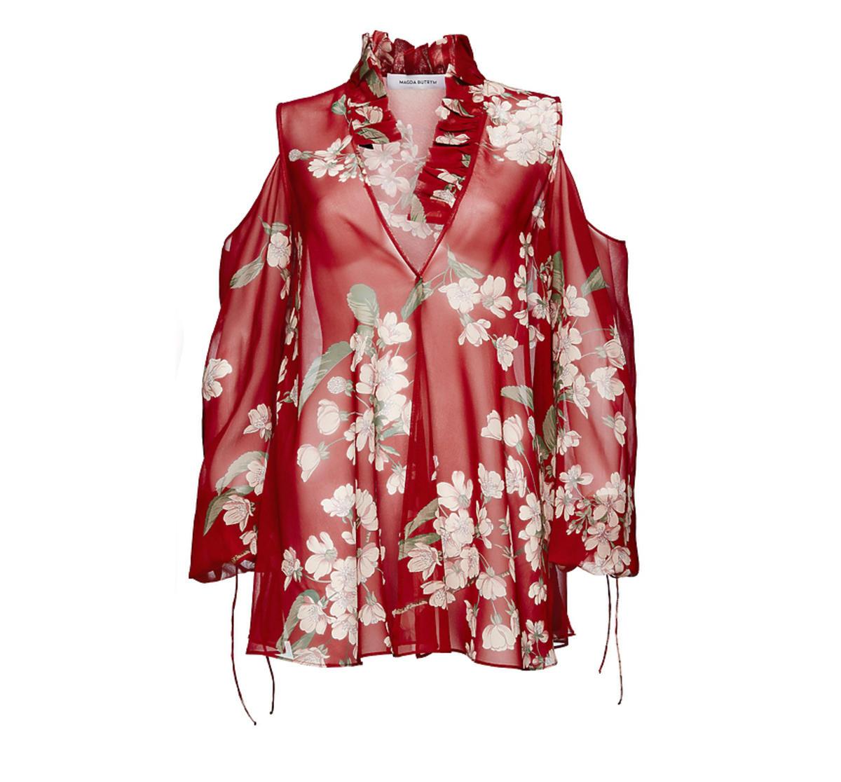 Czerwona koszula w kwiaty z odkrytymi ramionami