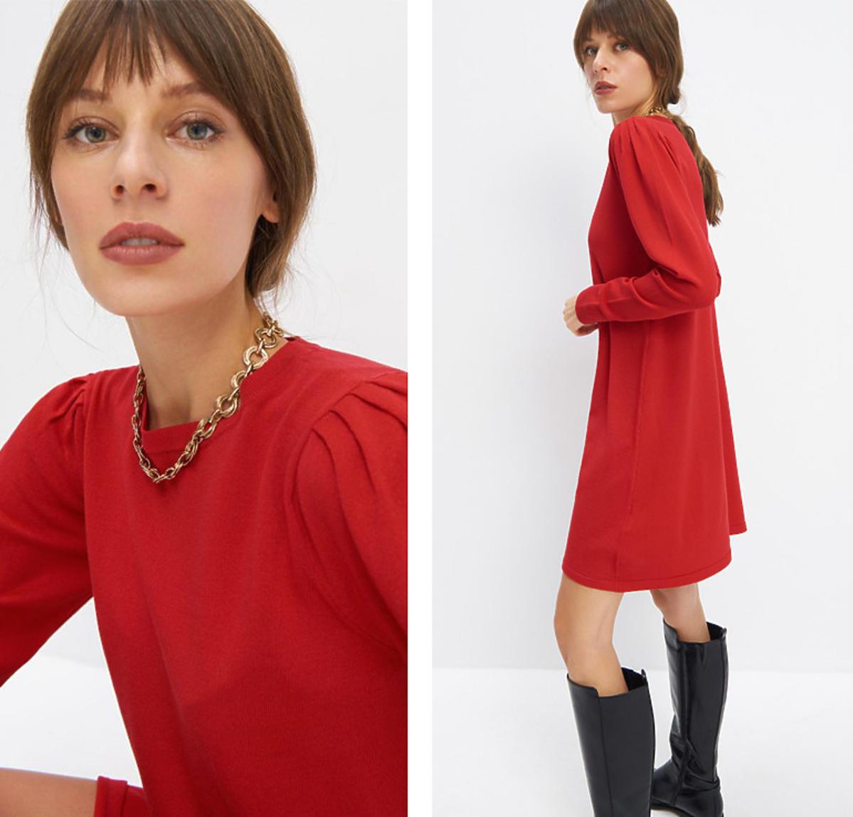 Czerwona sukienka z bufkami z Mohito za 39,99 zł