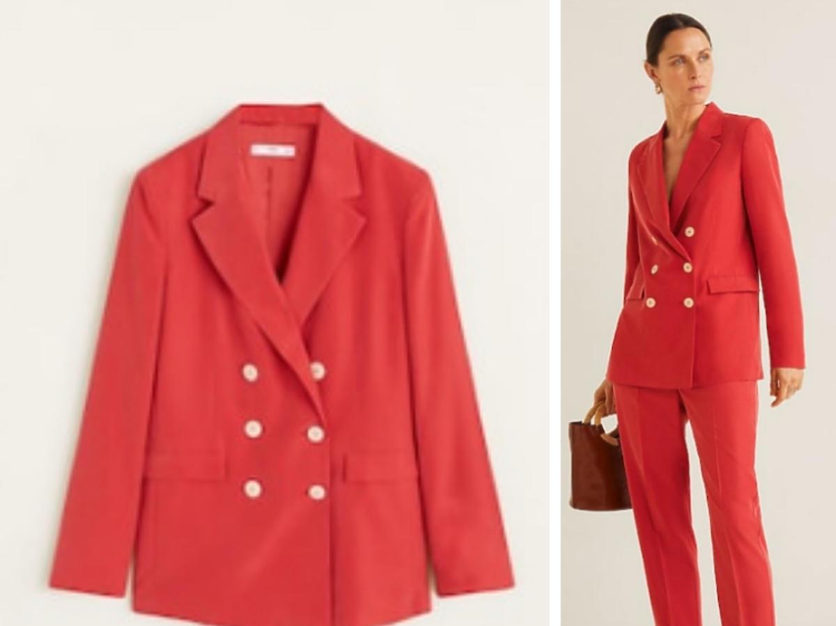 czerwony garnitur Mango