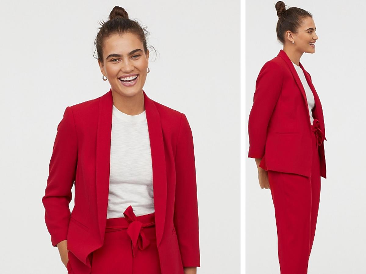 czerwony garnitur z H&M