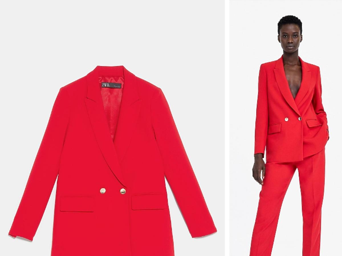 czewrwony garnitur z Zara