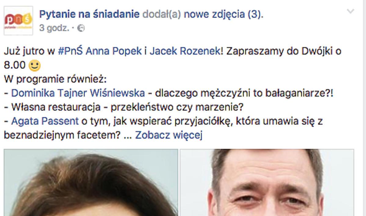 Czwartkowe wydanie śniadaniówki TVP2 poprowadzi Anna Popek i Jacek Rozenek. Takiej pary do tej pory jeszcze nie było