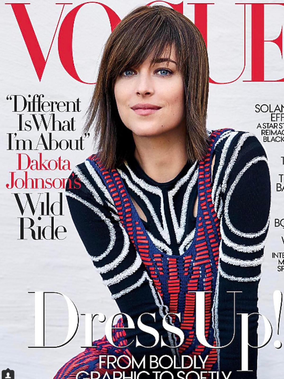 Dakota Johnson w nowej fryzurze na okładce Vogue