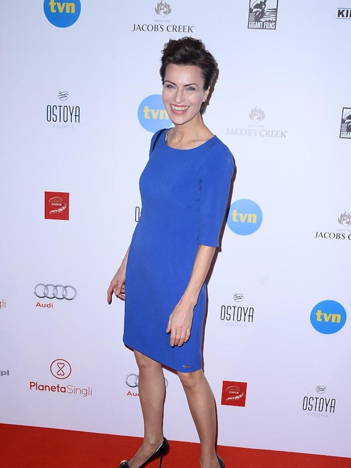 Danuta Stenka w niebieskiej sukience