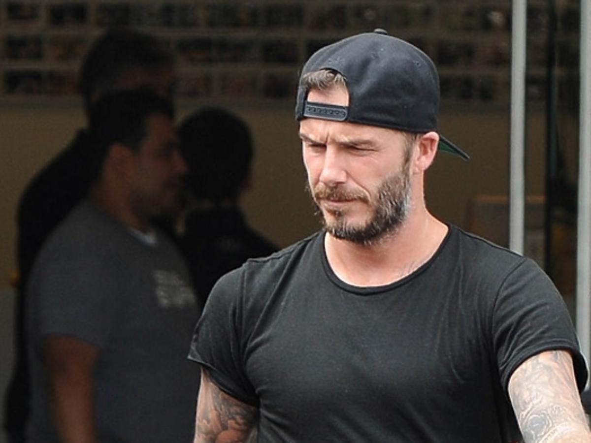 David Beckham wychodzi z siłowni