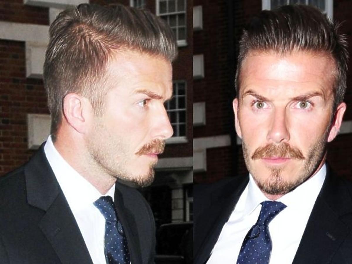 David Beckham z wąsami