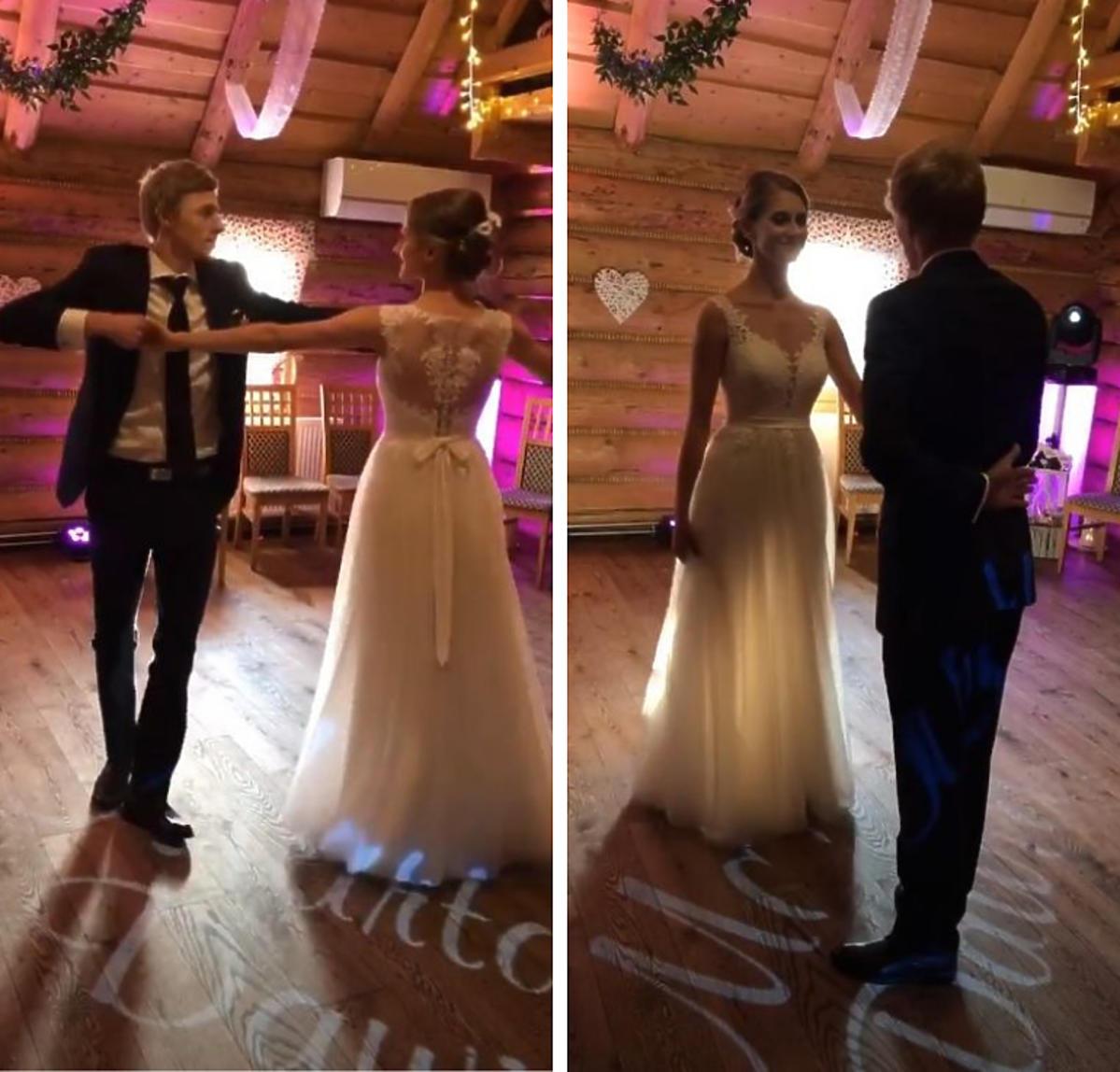 Dawid Kubacki z żoną na weselu