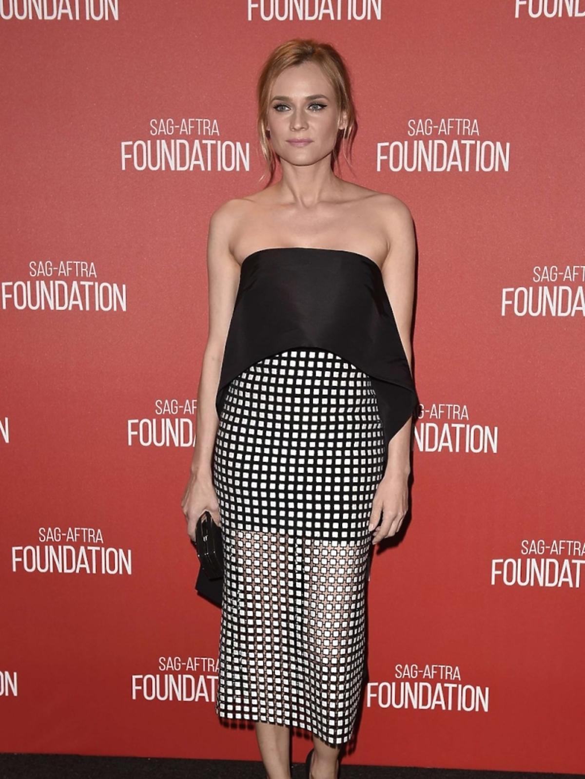 Diane Kruger w czarni białej sukience