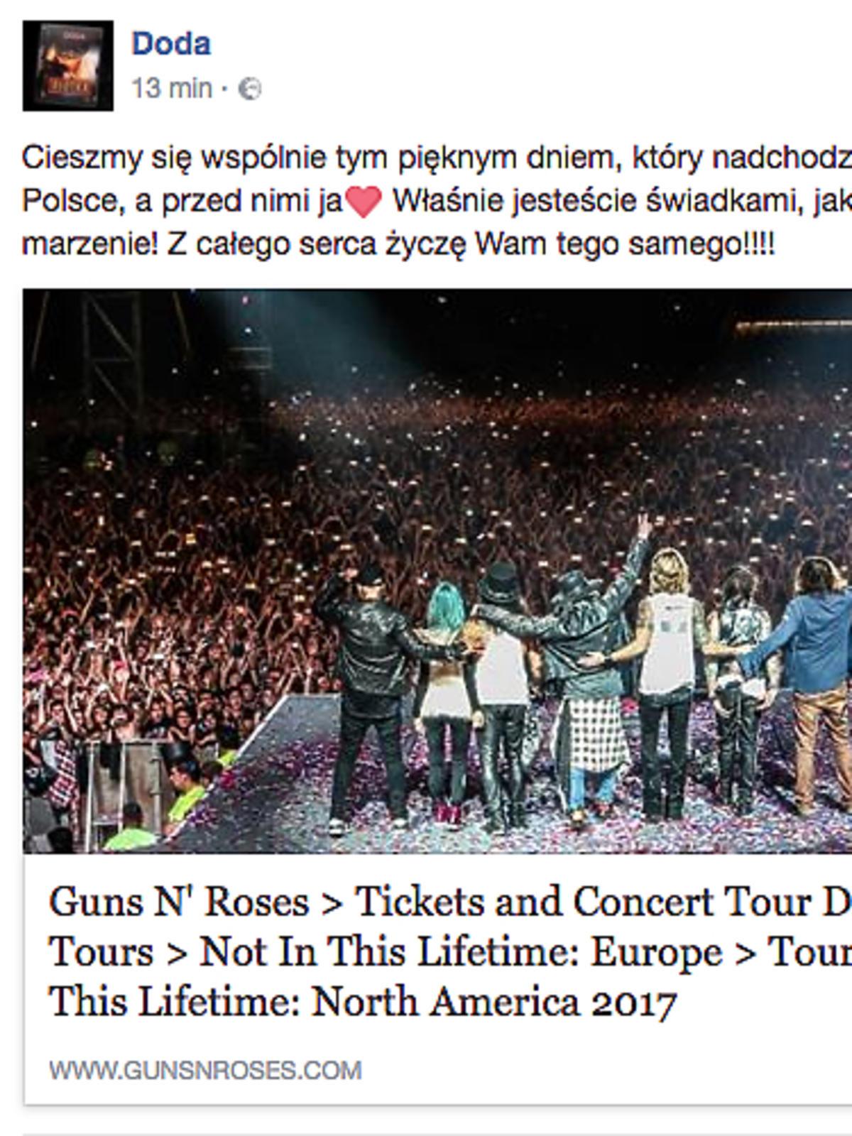 Doda zagra support przez zespołem Guns N'Roses