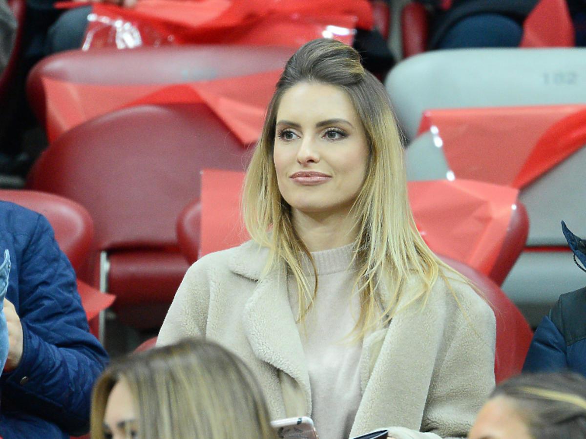 Dominika Grosicka na meczu Polska-Łotwa