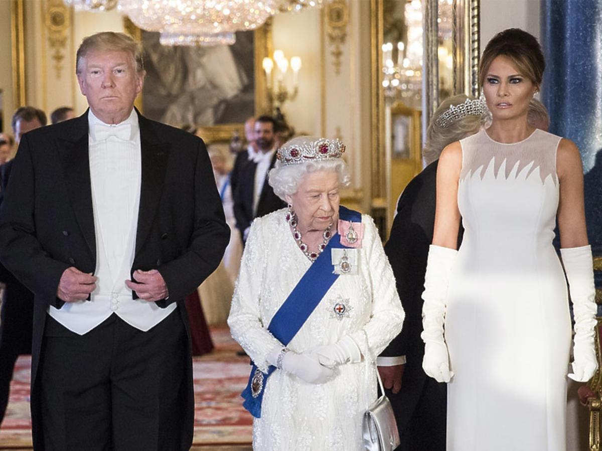Donald Trump i Melania Trump odwiedzili królową Elżbietę II