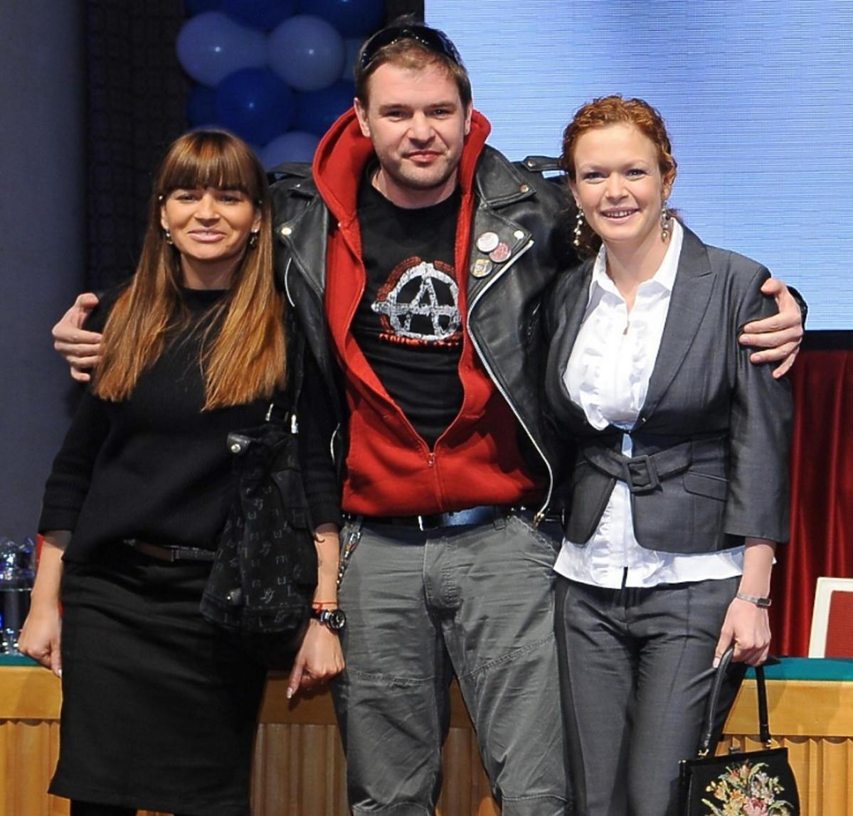 Dorota Deląg, Tomasz Karolak i Daria Widawska na ramówce TVN w 2008 roku