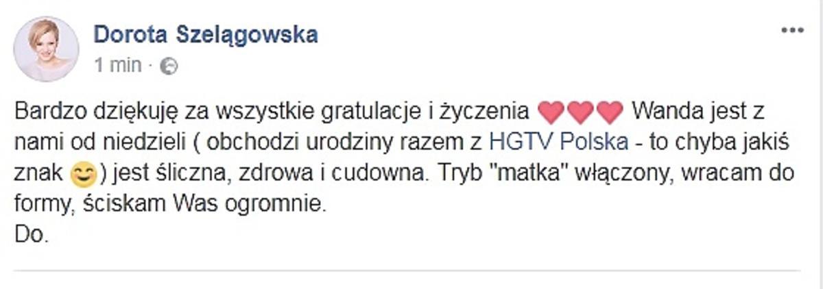 Dorota Szelągowska potwierdziła urodzenie dziecka