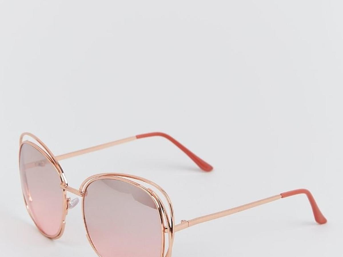 duże okrągłe okulary w metalowych oprawkach z New Look