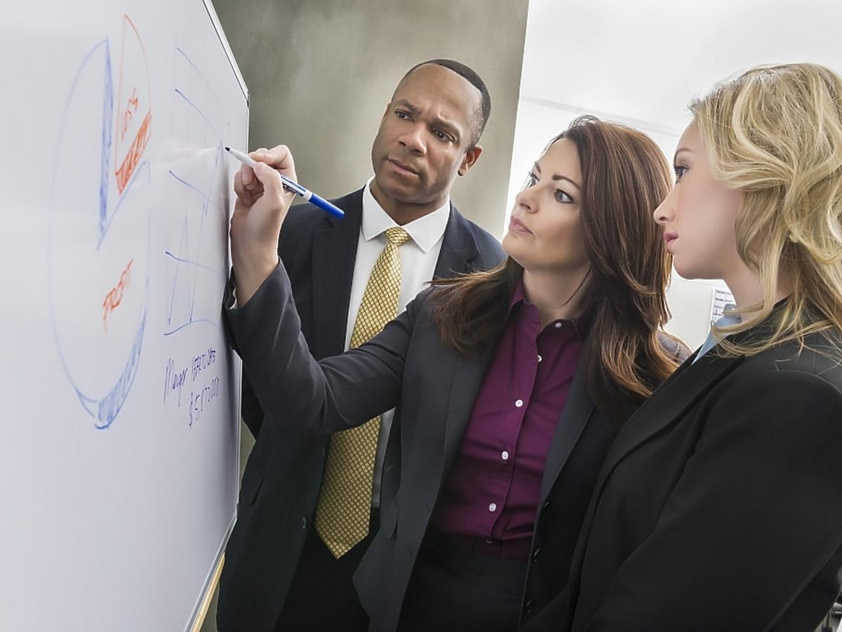 dwie kobiety i mężczyzna przy tablicy
