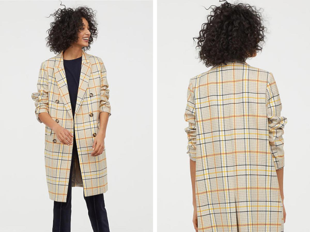 Dwurzędowy płaszcz w kratkę H&M