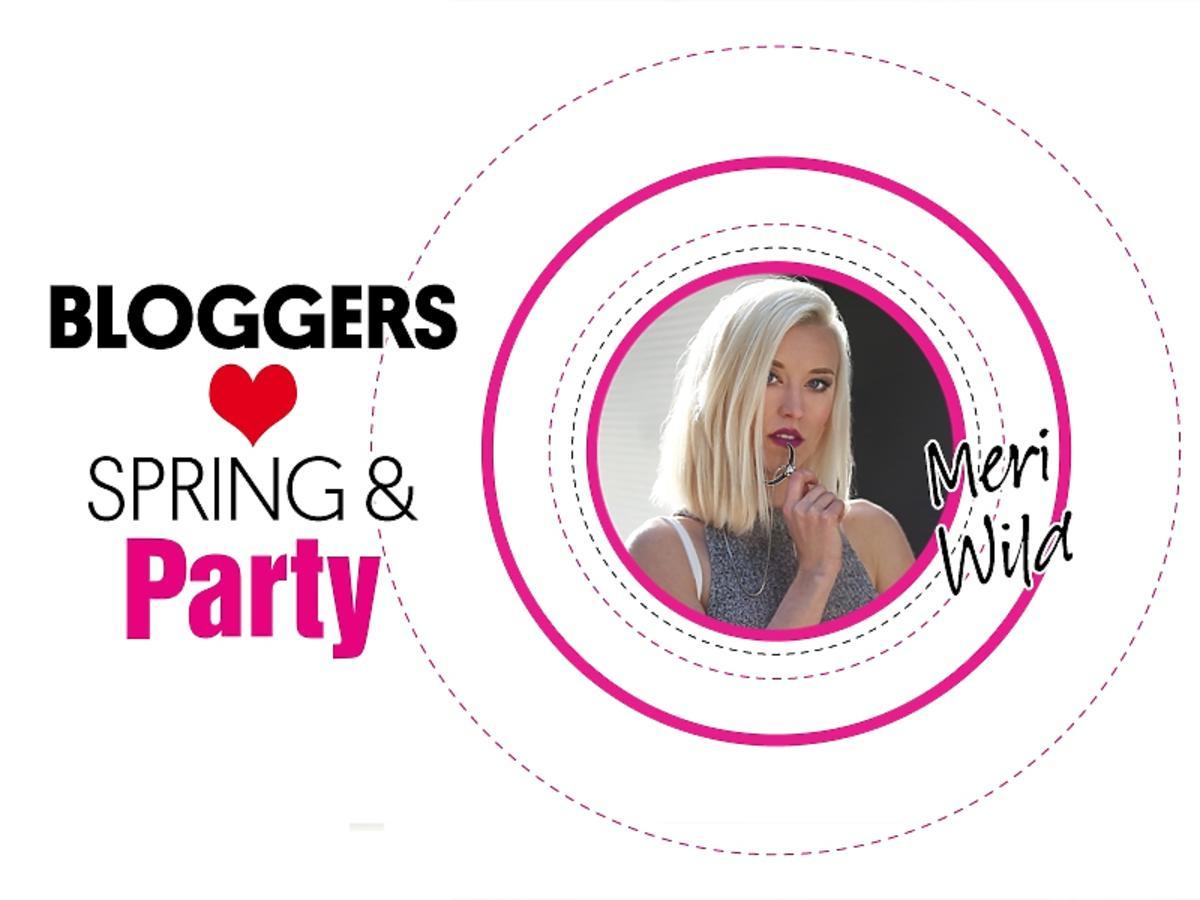 Dziewczyma w różowym kółku i napis: Bloggers love spring & Party