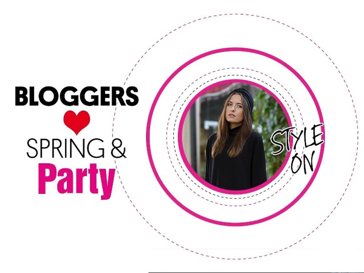 Dziewczyna w czerni i turbanie w różowym kółku, napis Bloggers love Spring & Party