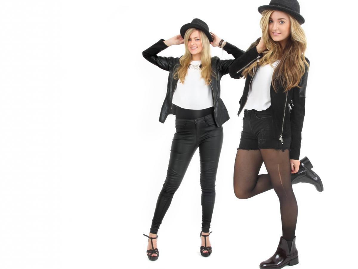 Dziewczyna w dwóch rockowych outfitach