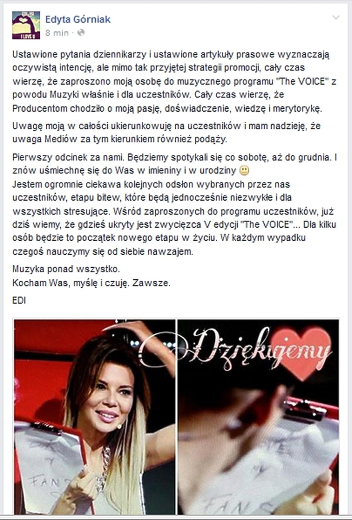 Edyta Górniak na Facebooku