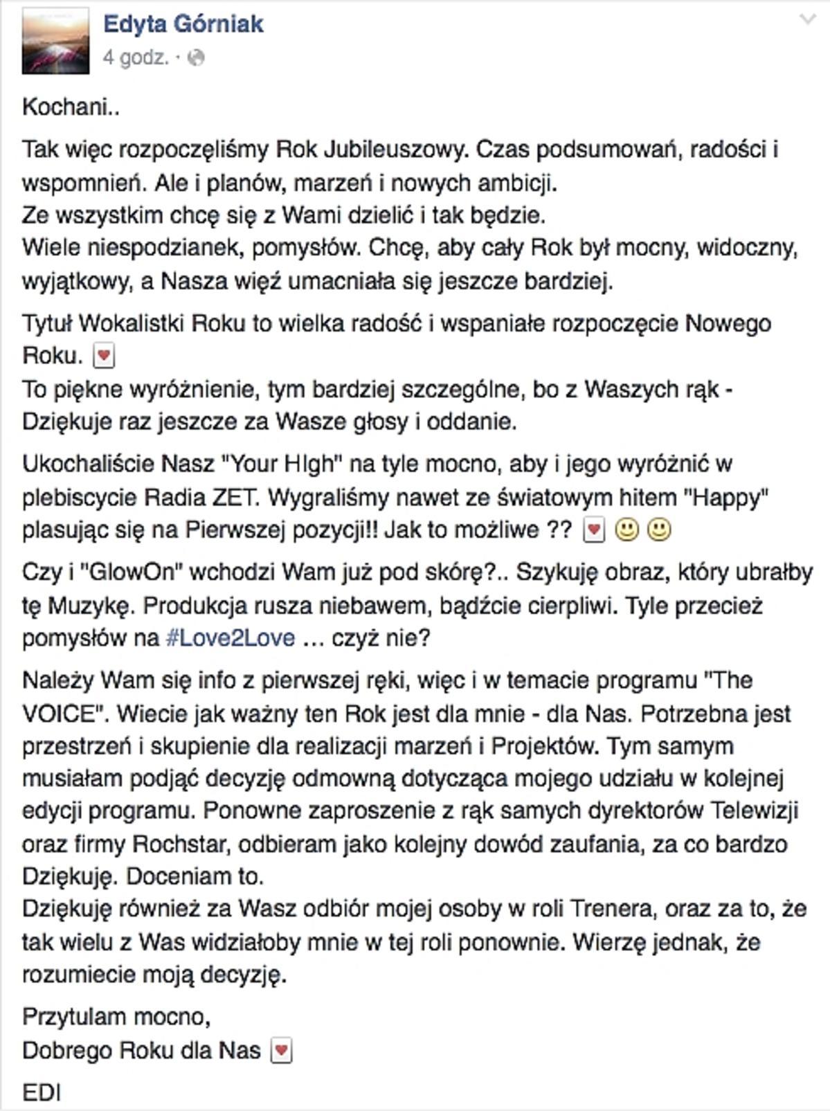 Edyta Górniak nie wystąpi w The Voice of Poland 6