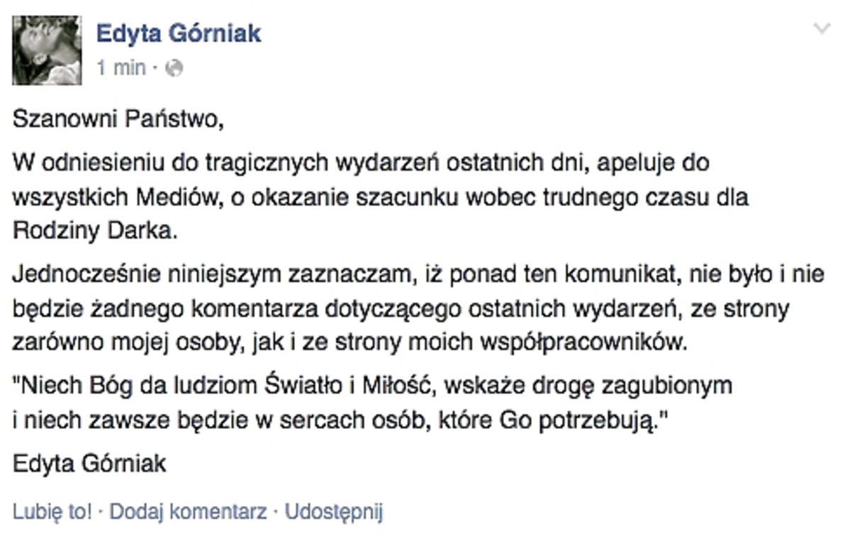 Edyta Górniak o wypadku Dariusza K.
