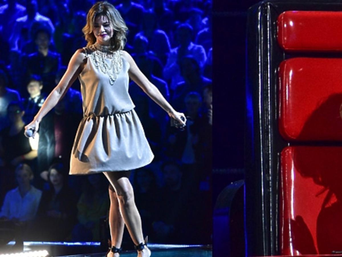 Edyta Górniak w beżowej sukience w finale 6. edycji The Voice of Poland