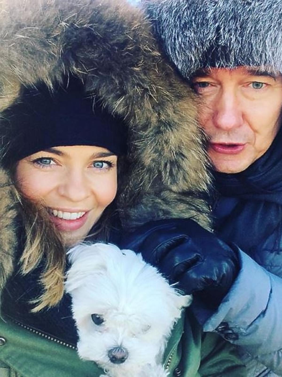 Edyta Herbuś, Mariusz Treliński na zimowym spacerze w Nowy Rok 2016