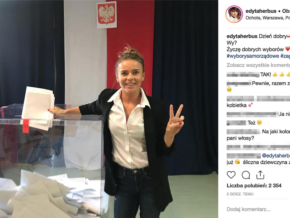 Edyta Herbuś  oddała głos w wyborach samorządowych