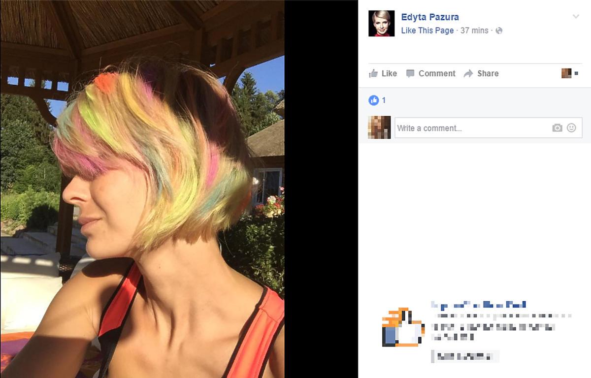 Edyta Pazura w kolorowych włosach