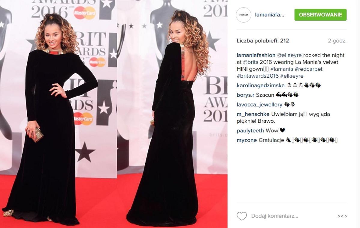 Ella Eyre w sukni La Mania na Brit Awards 2016