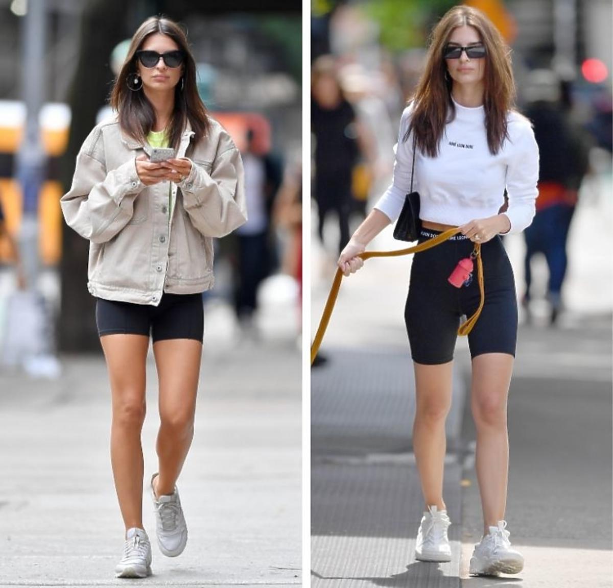 Emily Ratajkowski spaceruje po LA w czarnych kolarkach