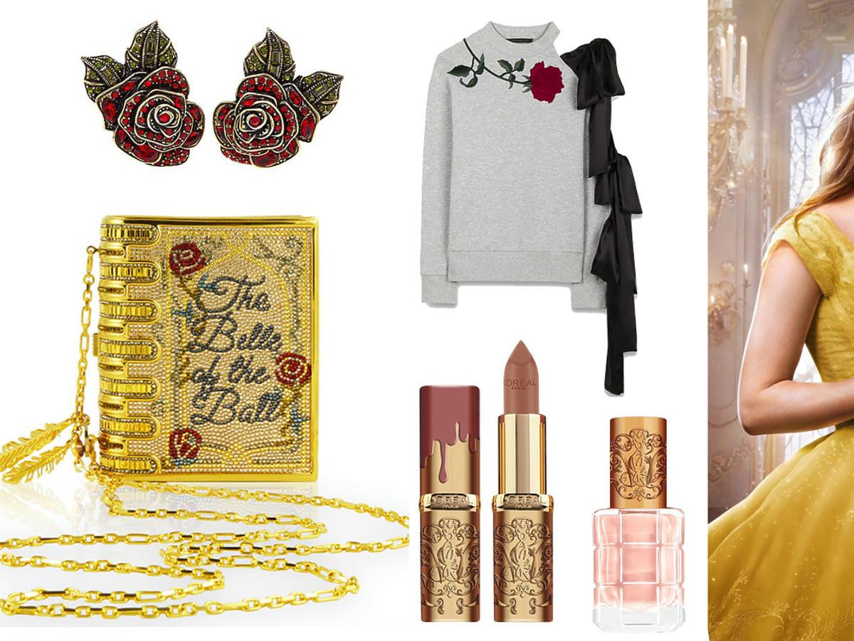 Emma Watson - Bella w Piękna i Bestia - biżuteria, ubrania, torebki z różą