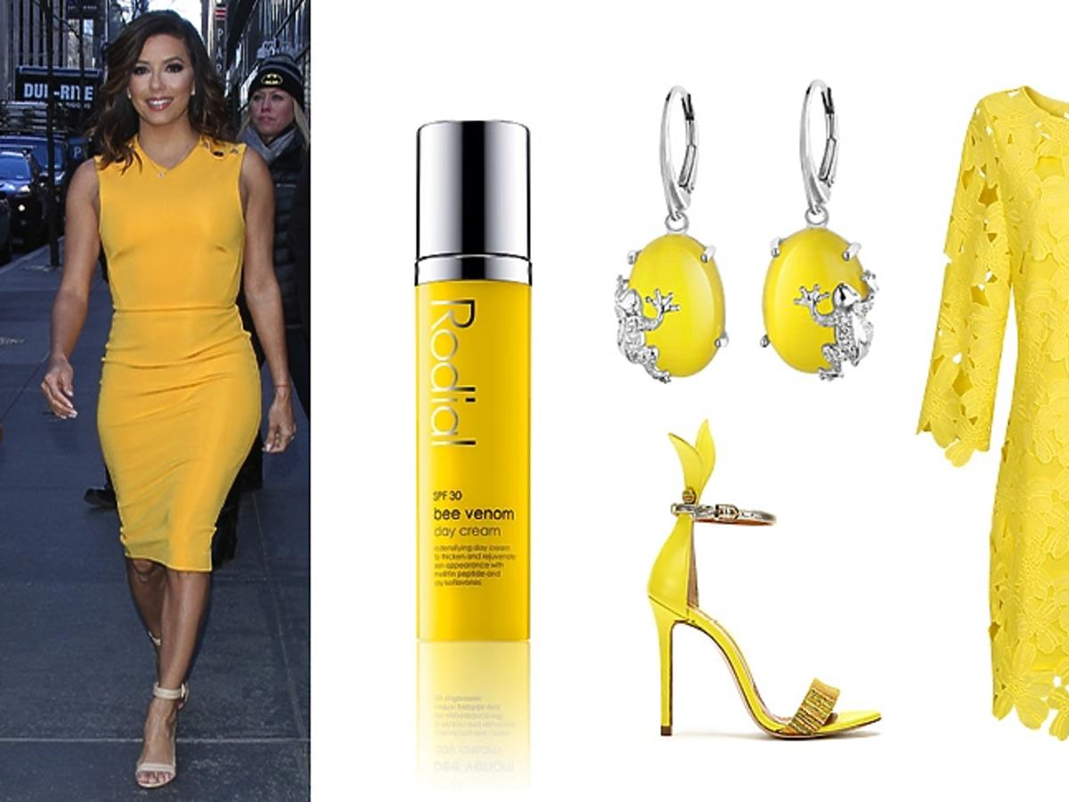 Eva Longoria, żółte ubrania i dodatki