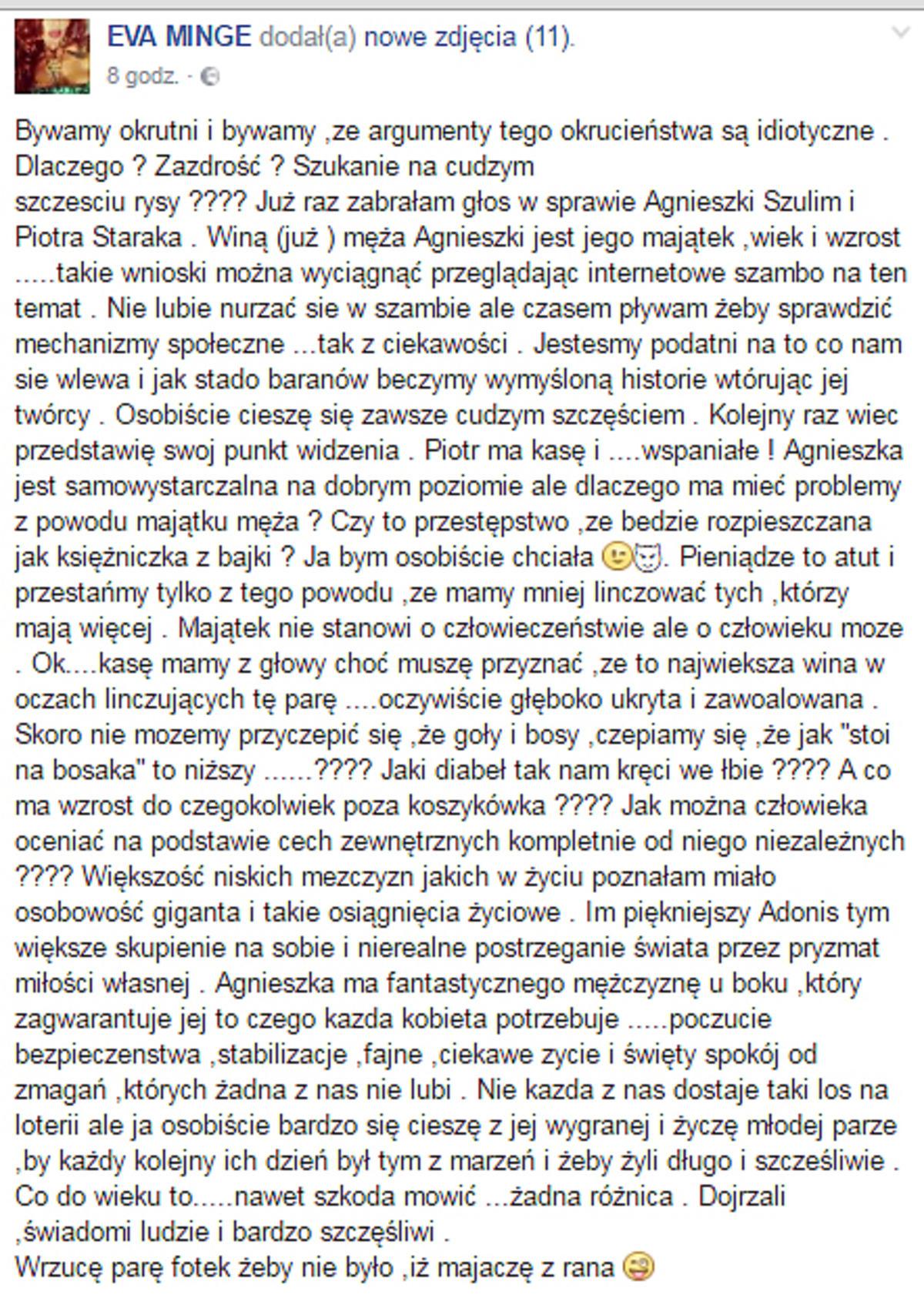 Eva Minge o ślubie Agnieszki Szulim
