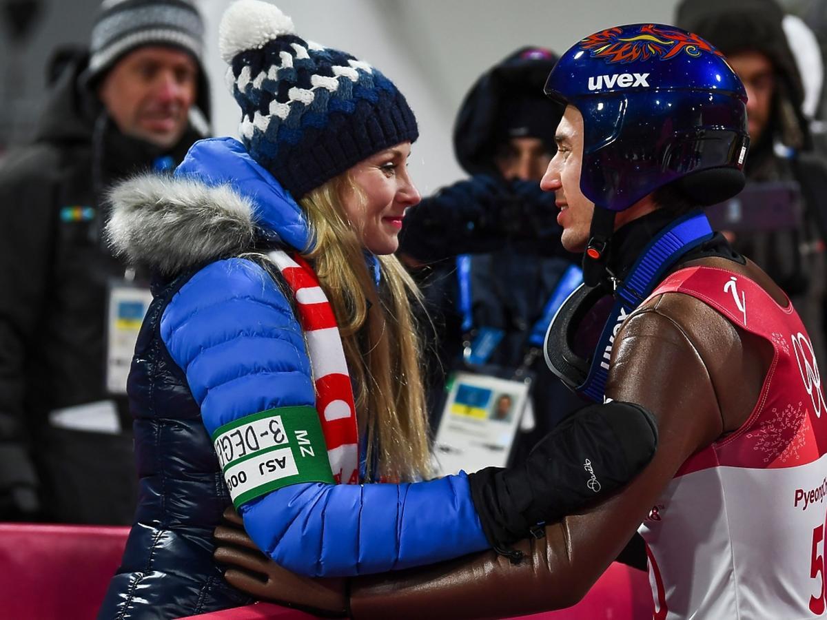 Ewa Bilan Stoch gratuluje mężowi Kamilowi mistrzostwa olimpijeskiego w Pjongczangu