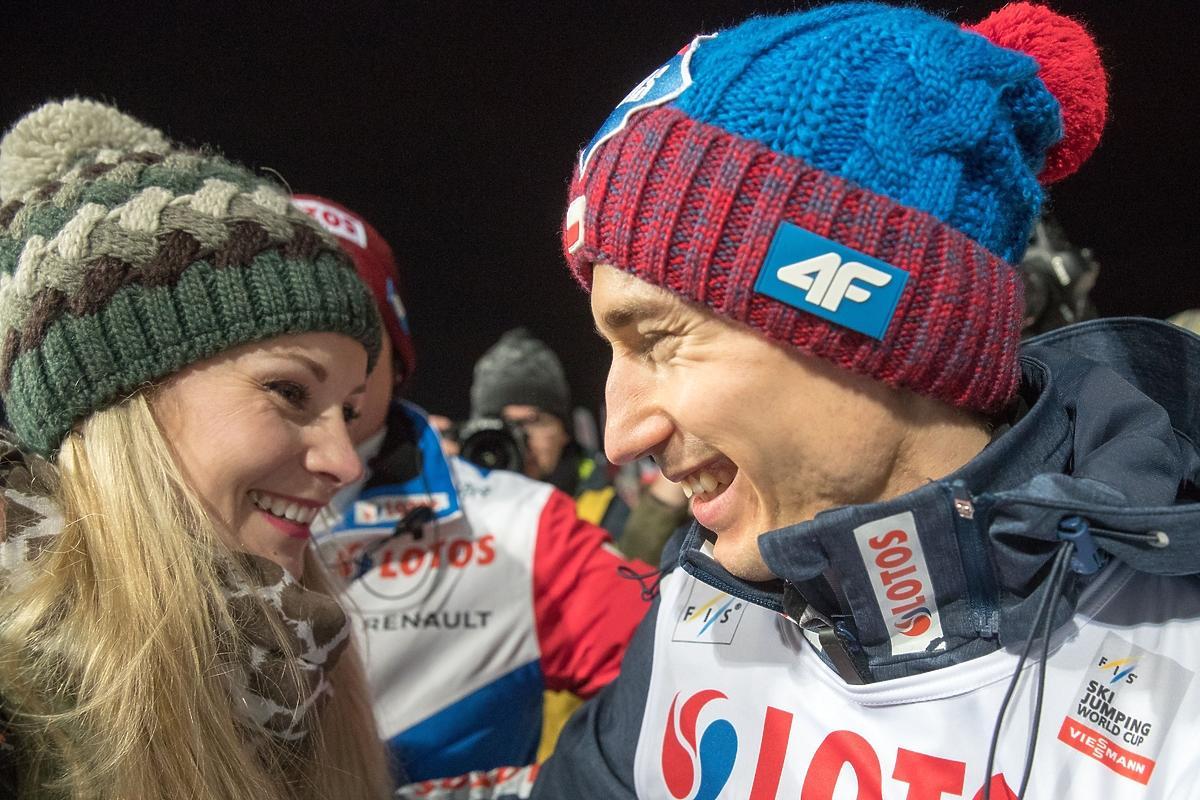 Ewa Bilan-Stoch i Kamil Stoch podczas zawodów Pucharu Świata w Zakopanem