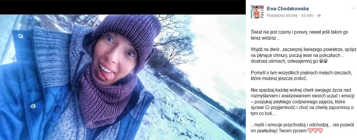 Ewa Chodakowska w zimowej czapce