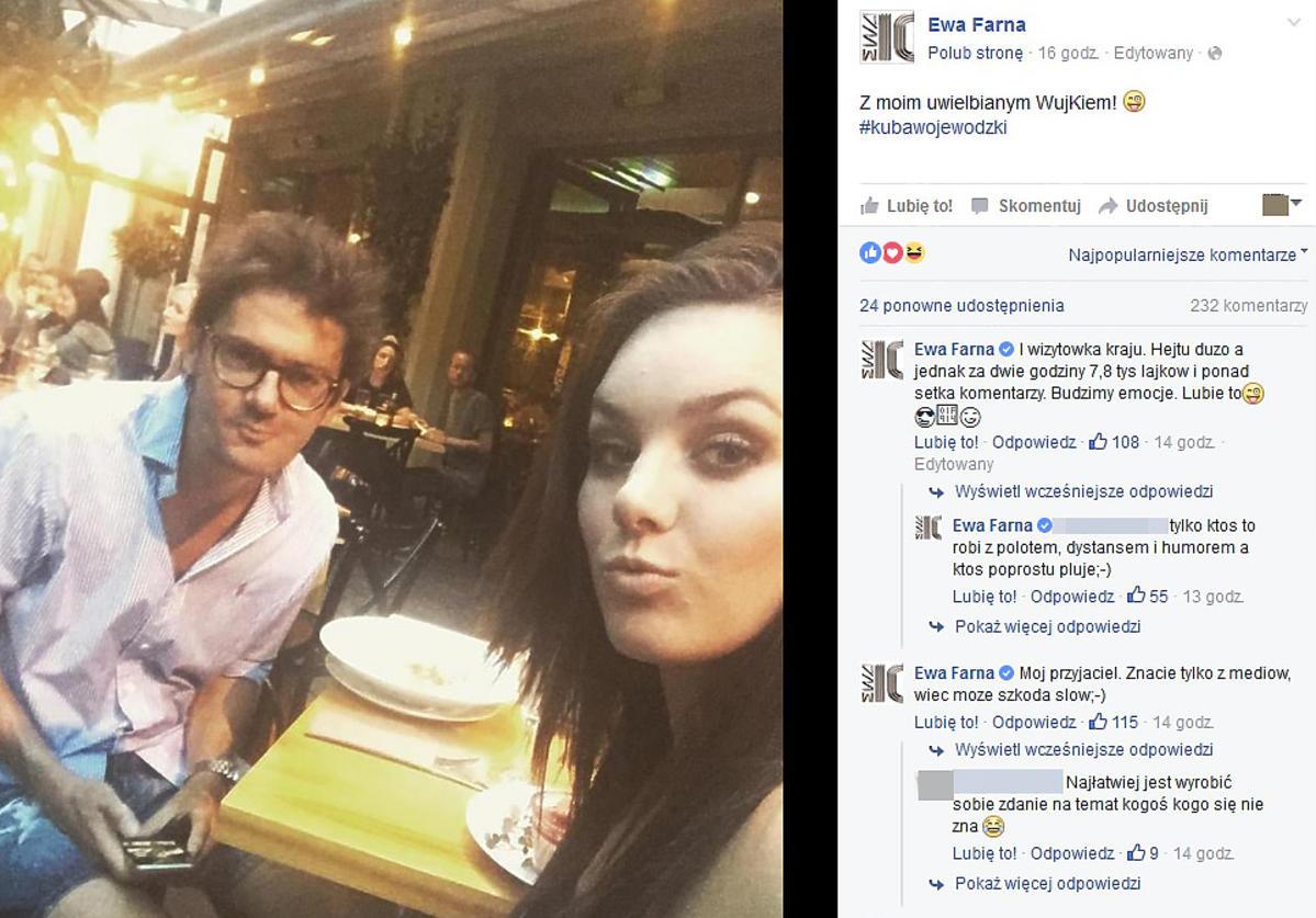 Ewa Farna i Kuba Wojewódzki w restauracji