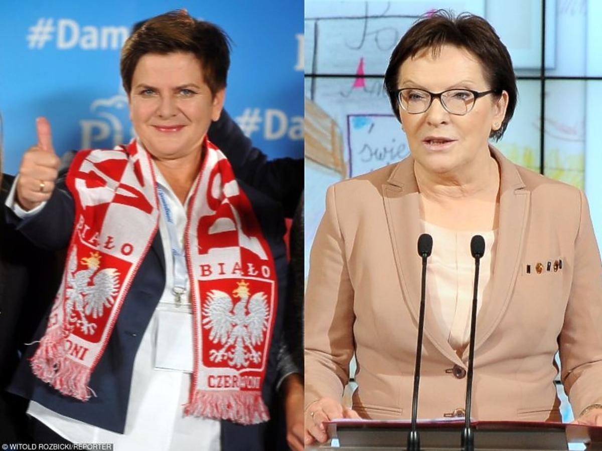 Ewa Kopacz przemawia do wyborców, Beata Szydło z szalikiem Polska
