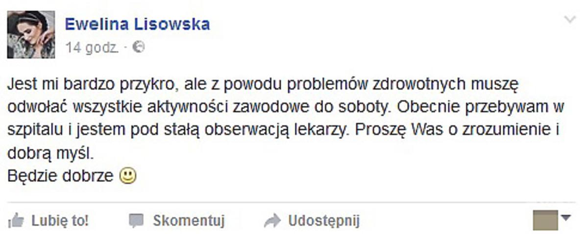 Ewelina Lisowska trafiła do szpitala