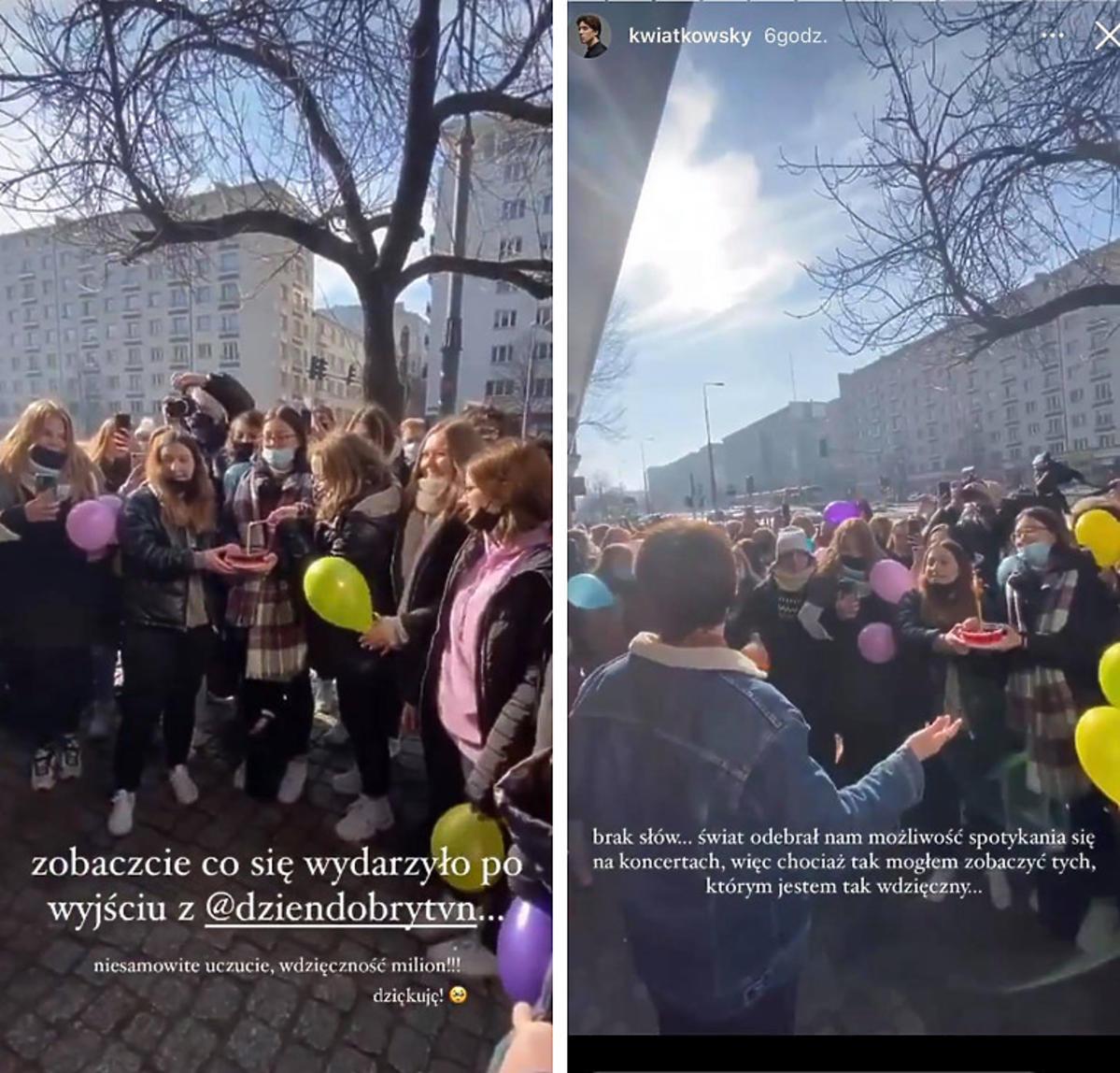 Fani Dawida Kwiatkowskiego pod studiem TVN