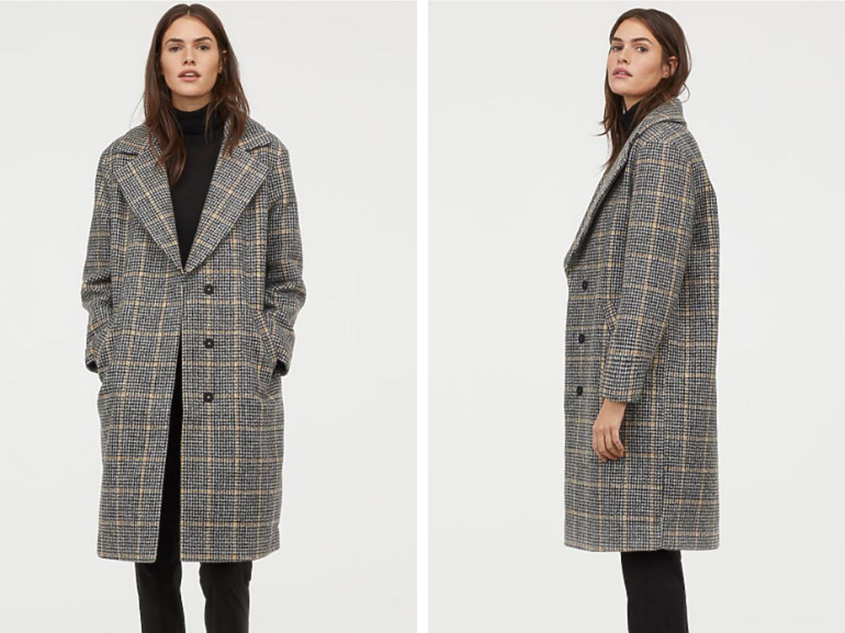 Filcowany płaszcz w kratkę H&M