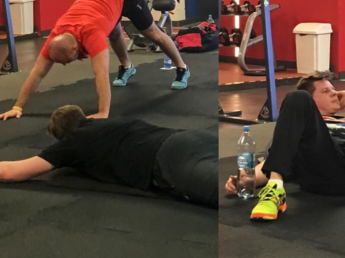 Filip Chajzer na siłowni
