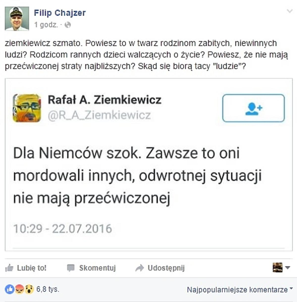 Filip Chajzer ostro do Ziemkiewicza: