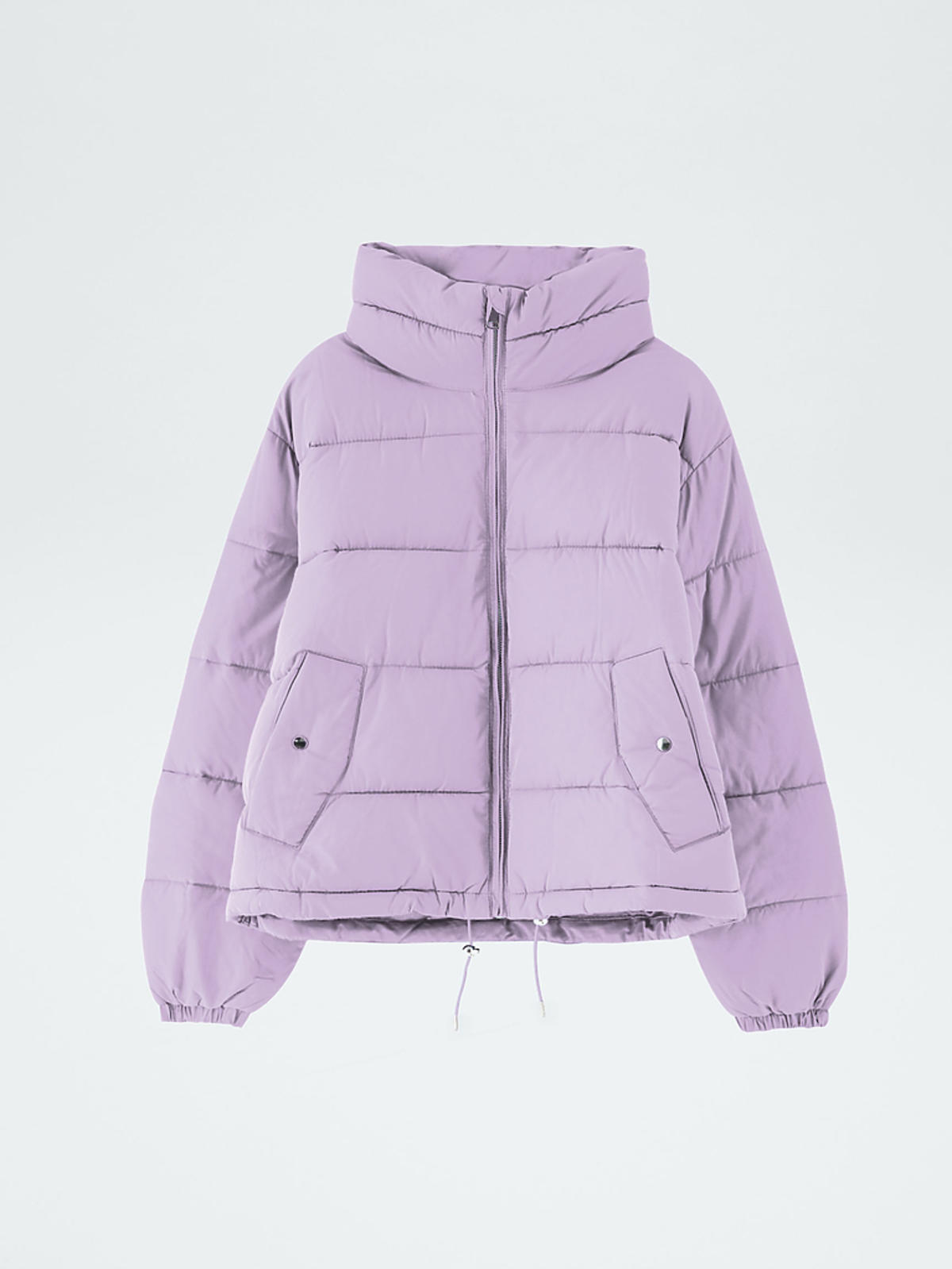 fioletowa kurtka puchowa z Pull&Bear