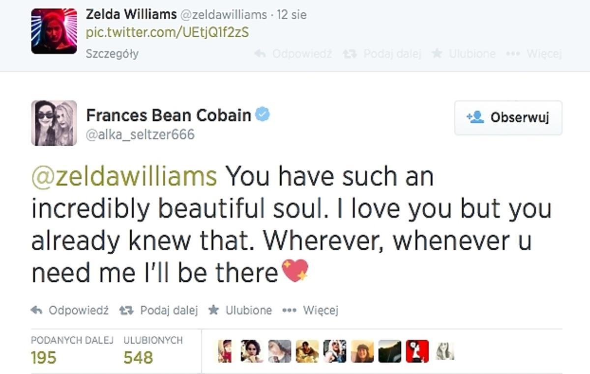 Frances Bean Cobain wspiera Zaldę Williams