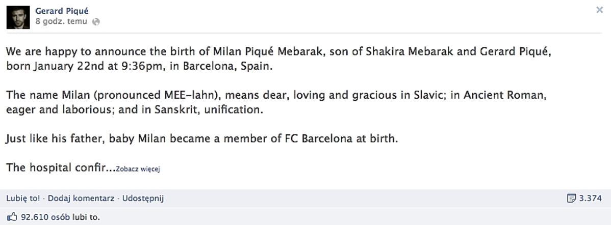 Gerard Pique został ojcem
