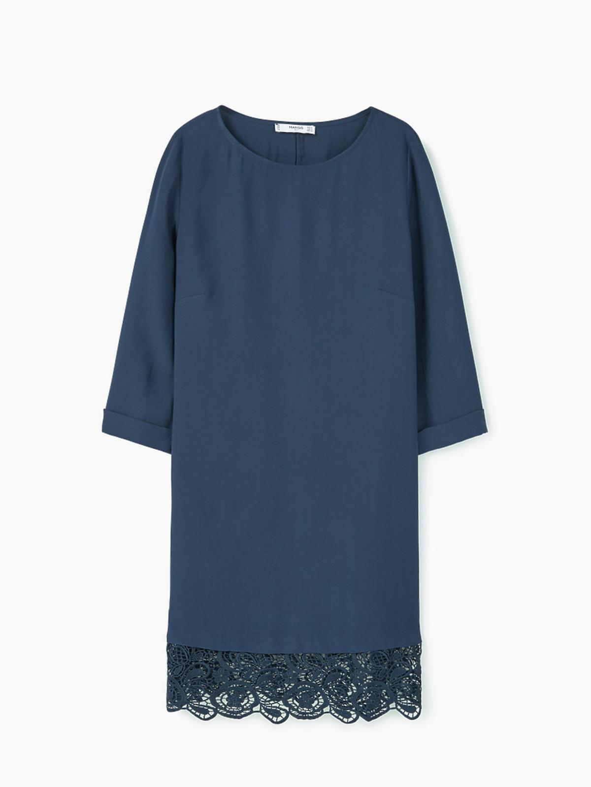 Granatowa sukienka, Mango, przeceniona z 199,00 zł na 159,90 zł
