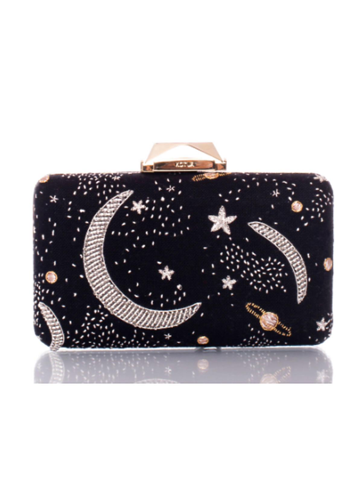 Granatowa torebka z księżycami i gwiazdami